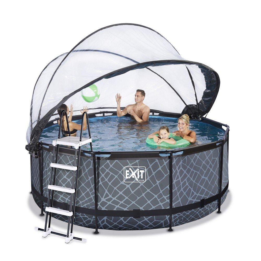 Exit pool med 360 cm i diameter (Mindre rund pool med kupoltak)