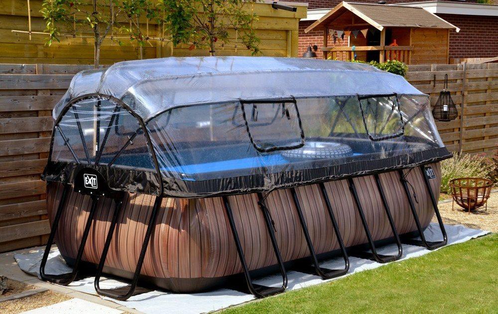 Pool 4x2 m premium (Rektagulär pool med tak och värmepump)