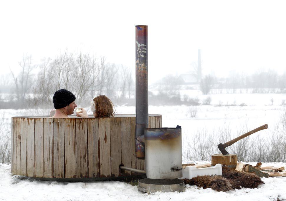 vedeldad badtunna 2 personer - Vinter